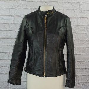 Vintage Black Leather Motorcycle Moto Jacket